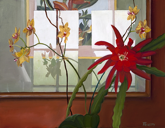 Oil painting of flowers and reflections by Ann Trusty