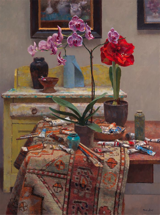 oil painting of flowers in the artist's studio, by Jim McVicker.