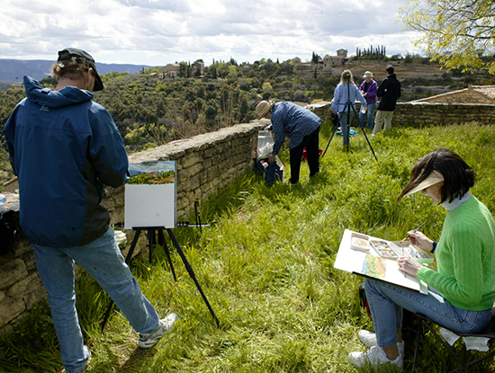 Photo of John Hulsey's plein air watercolor painting class in Gordes France