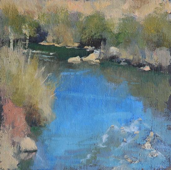 "Rio Grande, 8 x 8"", Oil, © Stuart Fullerton"