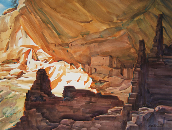 watercolor painting of ruins in Canyon de Chelly, by Gerald Fritzler