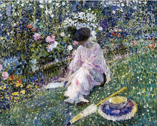 Garden in June, 1911, Painting by Frederick Carl Frieseke