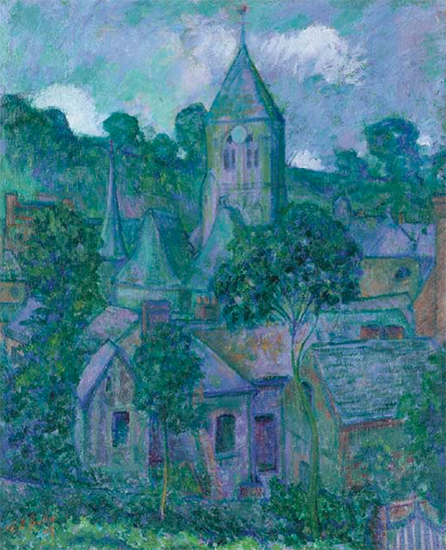 Painting by Theodore Butler titled Giverny at Night 1909