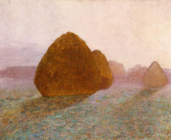 Haystacks at Giverny Normandy Sun Dispelling Morning Mist,1891, John Leslie Breck