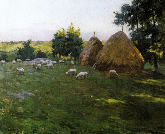 Haystacks at Sunset, 1888, painting by Willard Metcalf