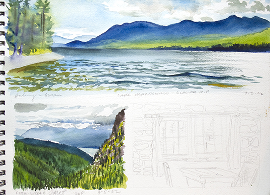 Page from John Hulsey's Glacier Sketchbook