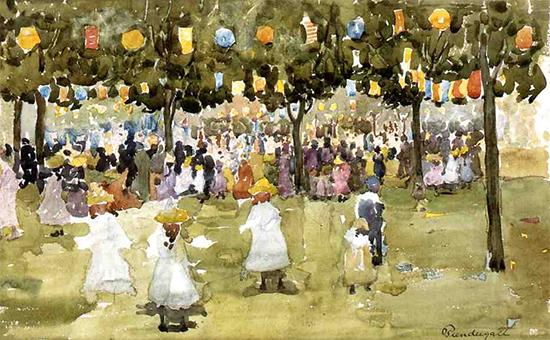 Central Park, New York City, July 4th, ca. 1900-1903, Maurice Prendergast