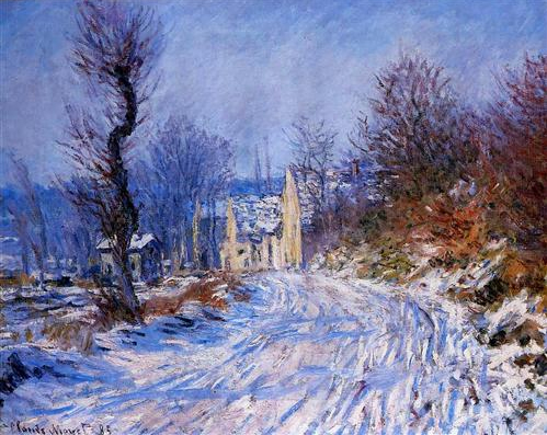 Road to Giverny in Winter, 1885, Claude Monet