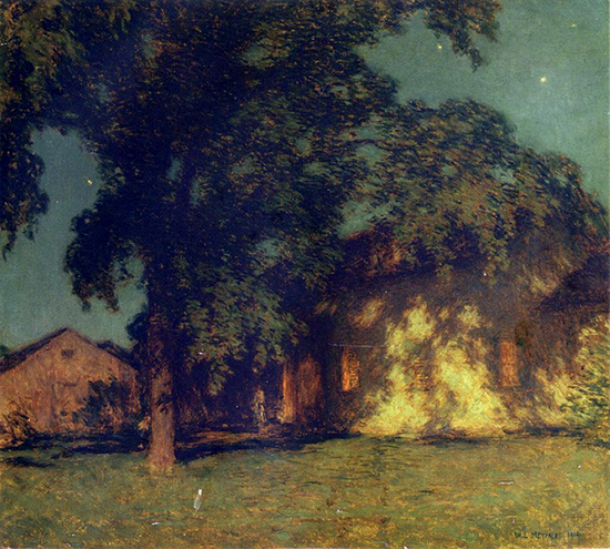 Oil painting of tree and house in moonlight by Willard Metcalf