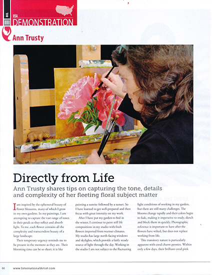 magazine page of Ann Trusty painting peonies at her easel