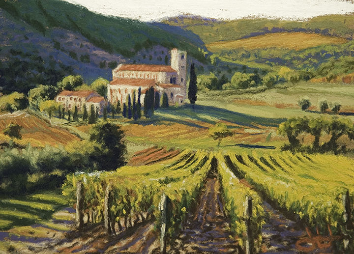 pastel painting of Sant'Antimo Abbey, Tuscany, Italy, by John Hulsey