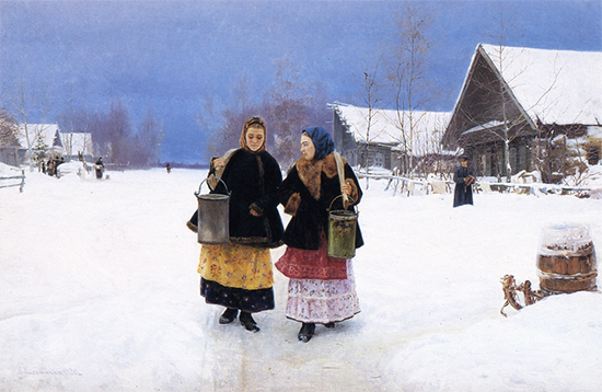 Oil Painting of Russian Women in Snow, Rivals, 1890, Nikolay Kasatkin