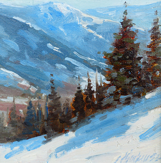 snowy mountain oil painting by Jeanne Mackenzie