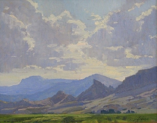 oil painting of mountains and clouds in Wyoming.