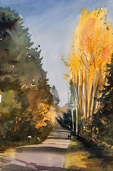 "220th Street in Fall Color, 15 x 22"", Plein Air Watercolor, © Jeff Good"