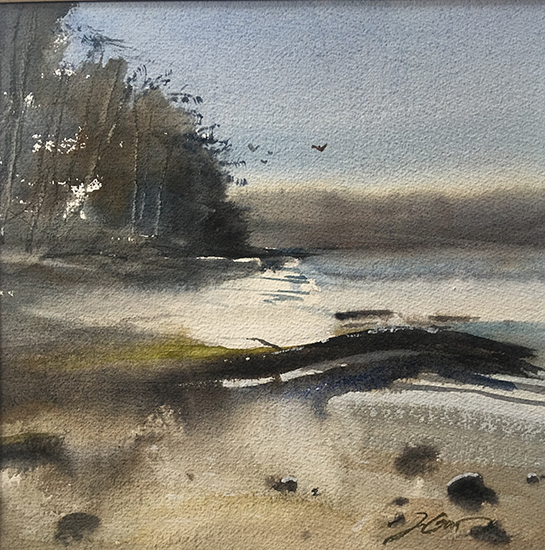 "Christensen Cove, 15 x 15"", Plein Air Watercolor, © Jeff Good"