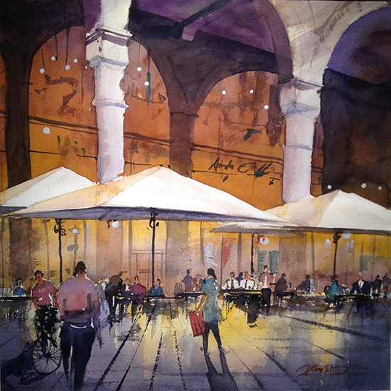 "Evening in Milan, Galleria Vittorio Emanuele, 20 x 20"", Watercolor, © Jeff Good"