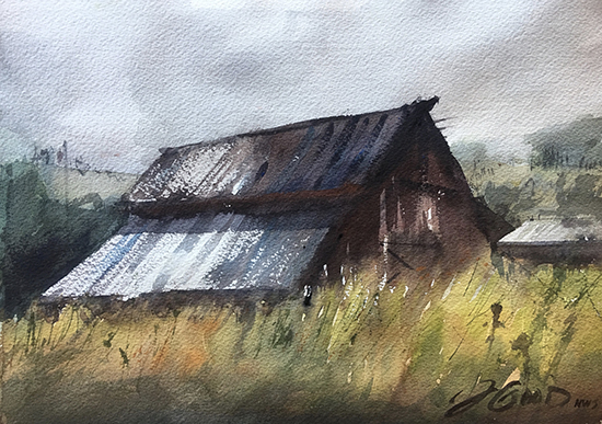 "Methow Valley Barn, 14 x 11"", Watercolor, © Jeff Good"