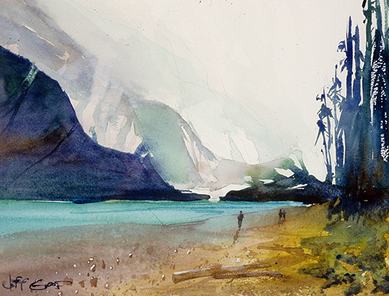 "Moraine Lake, 14 x 11"", Plein Air Watercolor, © Jeff Good"