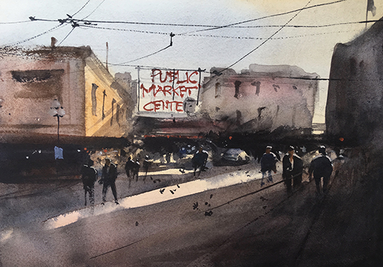 "Pike Place Market, 14 x 11"", Watercolor, © Jeff Good"