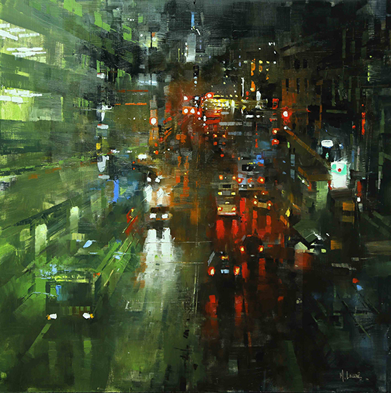"San Francisco Night Rain, 30 x 30"", Oil, © Mark Lague"