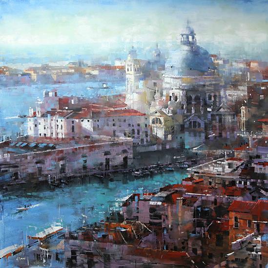 """Venice Afternoon, 40 x 40"""", Oil, © Mark Lague"""