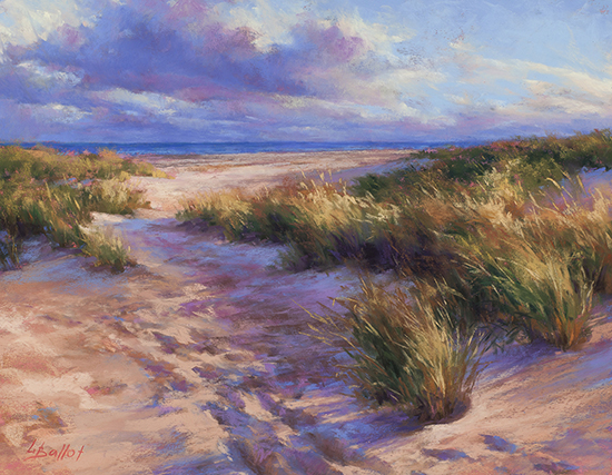 "Footprints in the Sand, 11x14"", Pastel, © Lana Ballot"