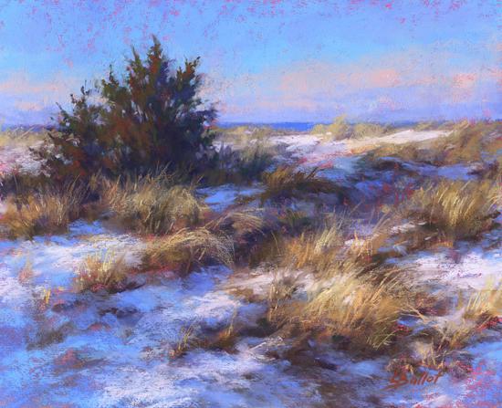 "Snow in Cedar Beach Dunes, 8x10"", Pastel, © Lana Ballot"