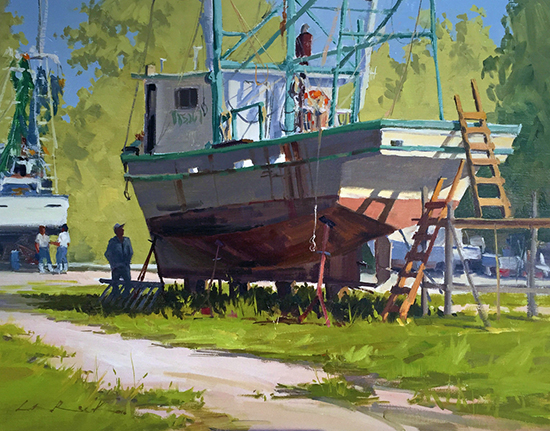 "Oil painting of boat - Get 'er Done, 18 x 24"" Oil, © Greg LaRock"