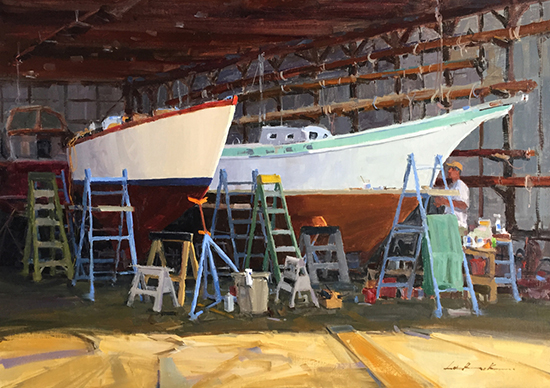 """Oil Painting of Boats - The Wife and the Mistress, 24 x 36"""", Oil, © Greg LaRock"""