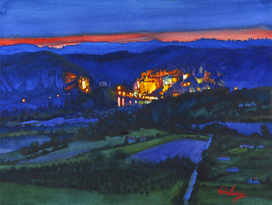 watercolor Nocturne of a village in France by John Hulsey