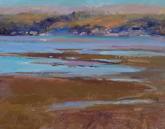 "Sunset Tomales Bay, 11 x 14"", Oil Painting, © Ann Larsen"
