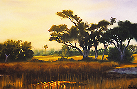Watercolor painting by John Hulsey of the Lowcountry of South Carolina