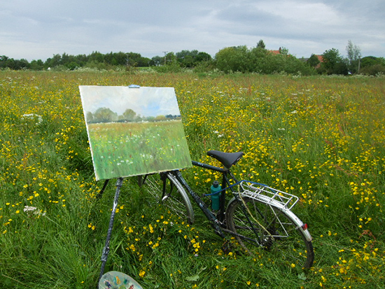 Photo of Ludvigsen's canvas and bike in Filey field