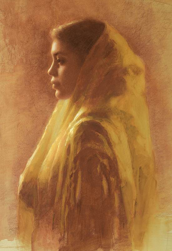 Pastel drawing of a girl in a lace veil © Susan Lyon