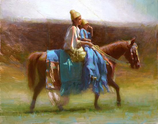 Oil painting of children on a horse, © Susan Lyon