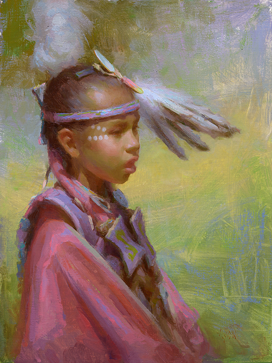 Oil painting of American Indian child, © Susan Lyon