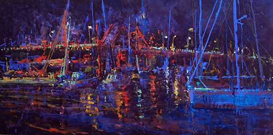"Summer Evening on Spa Creek, Annapolis, Plein Air, 12 x 24"", © Maria Marino"