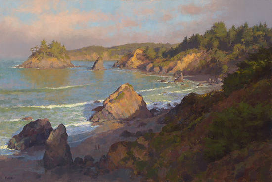 oil painting of beach at dawn by Jim McVicker
