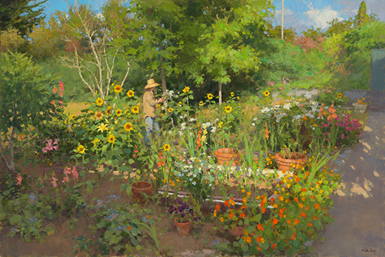 oil painting of woman in summer garden