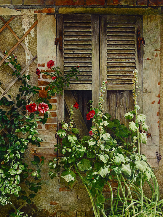 Watercolor Painting of French Window Flowers © Stan Miller