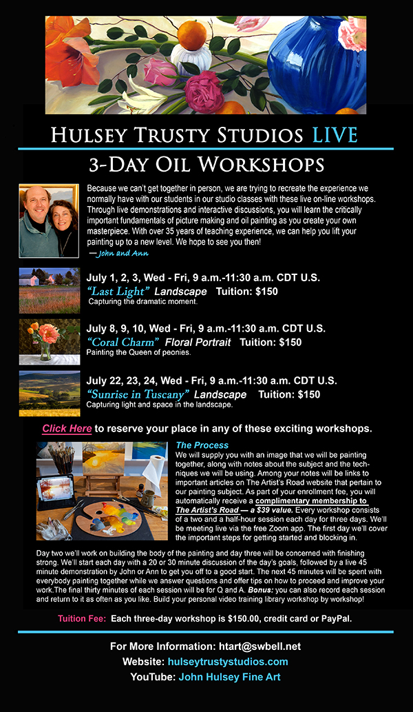 Live On-Line Oil Painting Workshops 7, 8 and 9