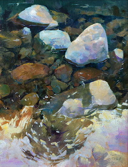 "Above and Below the Sol Duc, 14 x 18"", Oil on Panel, © Patrick Saunders"