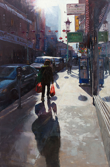"Back from the Bazaar,  24 x 36"", Oil on Canvas, © Patrick Saunders"