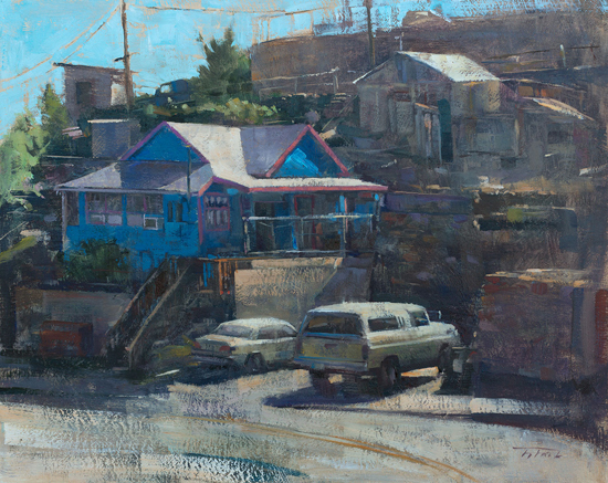 "Hillside History, Jerome, 16 x 20"", Oil on Panel, © Patrick Saunders"