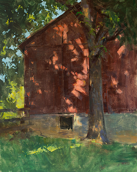 "Light Dancing at the Clapp Barn, Oil on Panel, 16 x 20"", © Patrick Saunders"