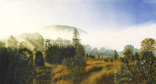 Watercolor of Fog and Mountains by John Hulsey