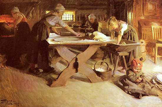 Baking the Bread by Anders Zorn 1889 pd us