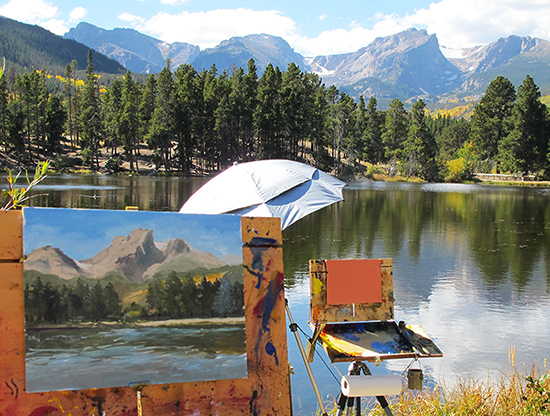 Photo of painting in progress at Sprague Lake, RMNP
