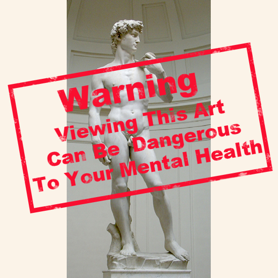 Michelangelo's David with Warning Stamp